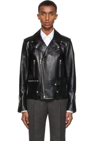 Saint Laurent Uomo Giacche di pelle - Black Plunged Leather Classic Motorcycle Jacket