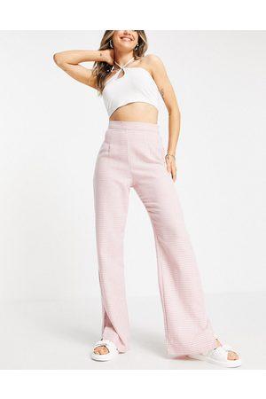 NaaNaa Pantaloni sartoriali a vita alta con spacco sul fondo con motivo pied de poule
