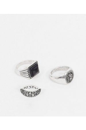 ASOS Confezione da 3 anelli brunito con pietra nera o sigillo