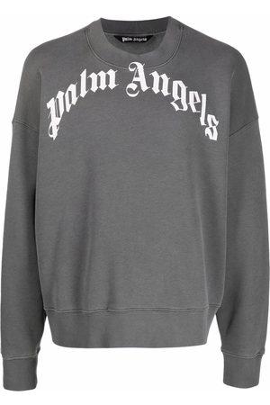 Palm Angels Uomo Felpe - GD CURVED LOGO CREW BLACK WHITE