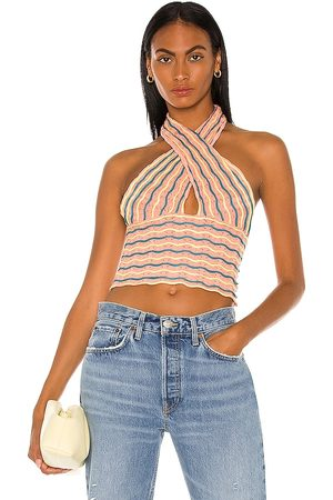 Bardot Summer Loving Halter Top in - Peach. Size L (also in XS, S, M).