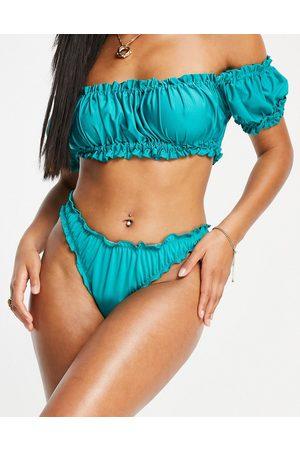 ASOS Slip bikini a vita bassa sgambati e arricciati, colore