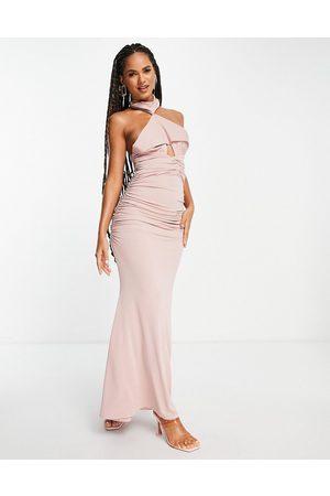 ASOS DESIGN Donna Vestiti da sera - Vestito lungo allacciato al collo con scollo profondo color visone arricciato sul retro