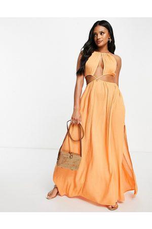 ASOS Donna Vestiti lunghi - Vestito da mare lungo incrociato in vita e allacciato al collo, colore corallo