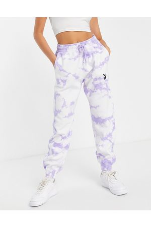 Missguided Playboy - Joggers oversize lilla tie-dye in coordinato