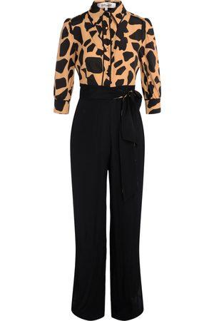 Diane von Furstenberg Jumpsuit Blake nera con stampa giraffa