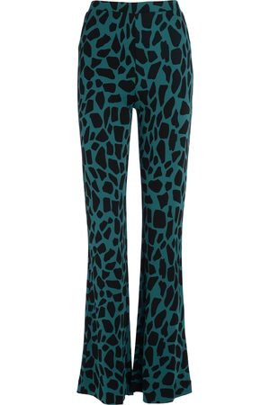 Diane von Furstenberg Pantalone a zampa Caspian ottanio con stampa giraffa