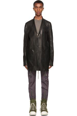 Rick Owens Black Leather Lido Jacket