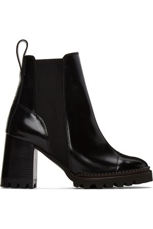 See by Chloé Black Leather Mallory Heeled Boots