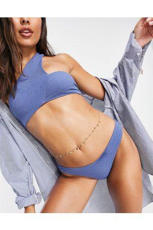 ASOS Donna Bikini - Top bikini a corpetto monospalla asimmetrico color ardesia