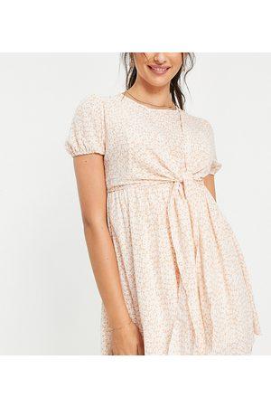 In The Style Maternity Donna Vestiti - X Dani Dyer - Vestito corto rosa con dettaglio con fiocco e stampa , colore rosa