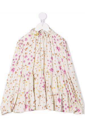 Il gufo Bambina Bluse - Floral-print panelled blouse - Toni neutri