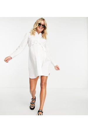 ASOS Donna Vestiti estivi - ASOS DESIGN Maternity - Vestito camicia corto in cotone con cintura da annodare