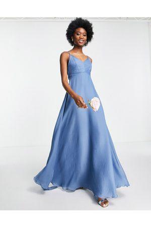ASOS Donna Vestiti lunghi - Bridesmaid - Vestito lungo allacciato in vita con spalline sottili e corpetto arricciato