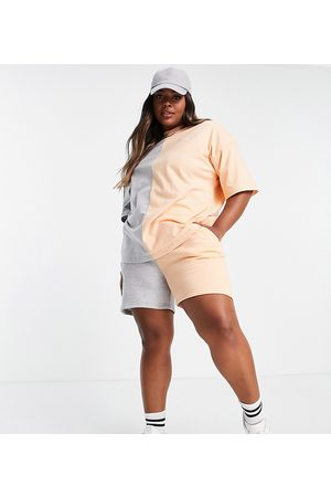 Missguided Donna T-shirt - T-Shirt oversize colorblock color pesca in coordinato