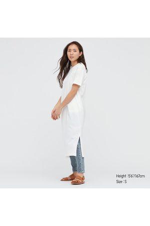 UNIQLO Vestito A T-Shirt Cotone Mercerizzato Maniche Corte Donna