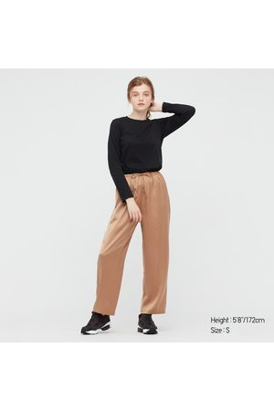 UNIQLO T-Shirt Cotone Elastico Liscio Girocollo Maniche Lunghe Donna