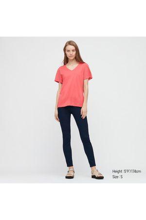 UNIQLO T-Shirt Cotone Supima Collo A V Donna