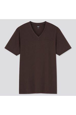 UNIQLO Uomo T-shirt a maniche corte - T-Shirt 100% Cotone Supima Collo A V Uomo