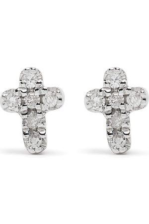 Djula Uomo Orecchini - Orecchini Cross in oro bianco 18kt con diamanti