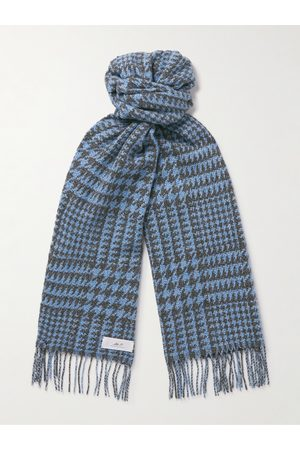 Mr P. Uomo Sciarpe - Fringed Houndstooth Merino Wool and Cashmere-Blend Scarf