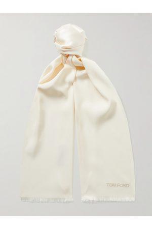 Tom Ford Uomo Sciarpe - Fringed Logo-Embroidered Silk Scarf