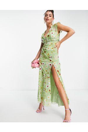 ASOS Vestito da giorno lungo con dettagli con volant e taglio sbieco, colore verde con stampa a fiori
