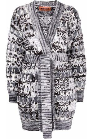 Missoni Donna Cardigan - Zigzag-pattern belted cardigan