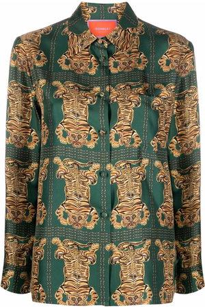 La DoubleJ Boy tiger-print silk shirt