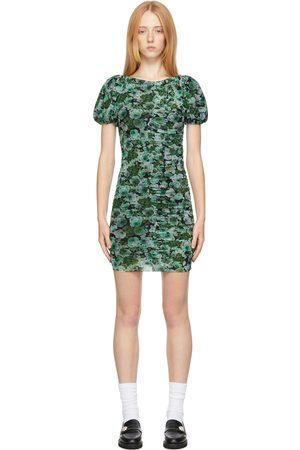 GANNI Donna Vestiti stampati - Green Mesh Floral Dress
