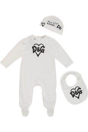 Dolce & Gabbana Baby - Tutina, bavaglino e cappello in cotone