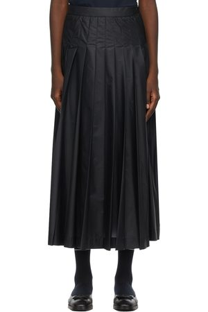 Thom Browne Donna Gonne a pieghe - Navy Ripstop Machine Pleated Skirt