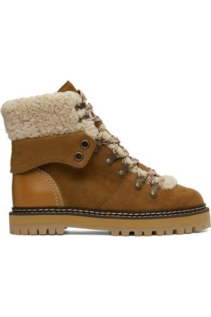 See by Chloé Tan Shearling Eileen Ankle Boots