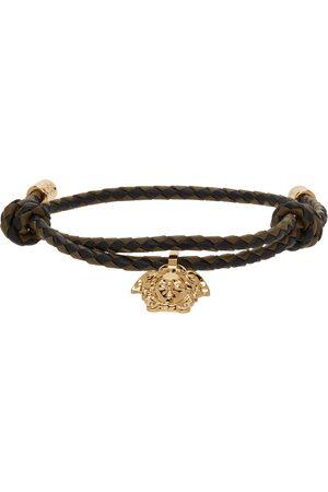 VERSACE Uomo Bracciali - Black & Khaki Braided Leather Medusa Bracelet