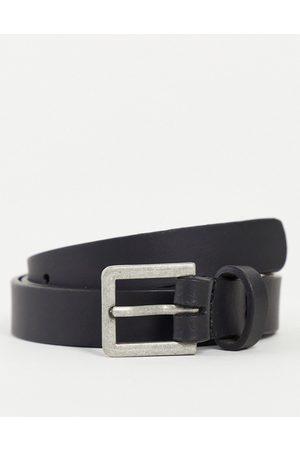 ASOS Uomo Cinture - Cintura skinny in pelle nera con fibbia argento