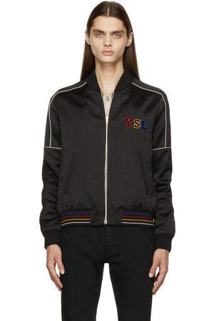 Saint Laurent Uomo Giubbotti - Black Logo Teddy Bomber Jacket