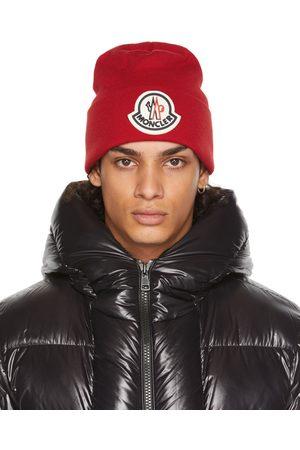Moncler Red Wool Logo Beanie