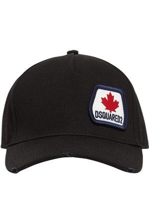 Dsquared2 Uomo Cappelli - Cappello In Gabardina Di Cotone Con Patch