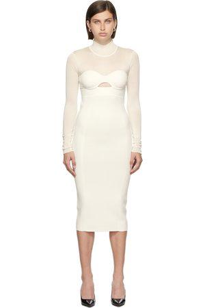 Hervé Léger Donna Corsetti - White Long Sleeve Corset Dress