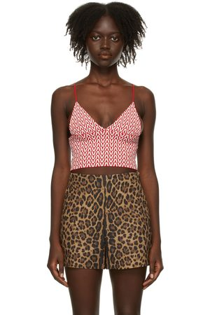 VALENTINO Donna Tank top - Red & White Optical Tank Top