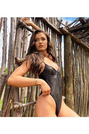 South Beach Donna Costumi interi - Esclusiva X Natalya Wright - Costume da bagno con ferretto animalier
