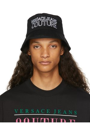 Versace Jeans Couture Black & White Embroidered Logo Bucket Hat