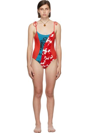 Rave Review SSENSE Exclusive Red & Blue Ophie One-Piece Swimsuit