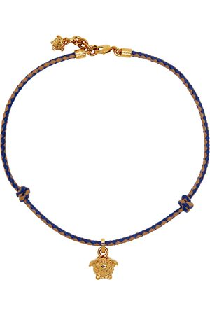 VERSACE Uomo Collane - Blue & Brown Braided Medusa Necklace