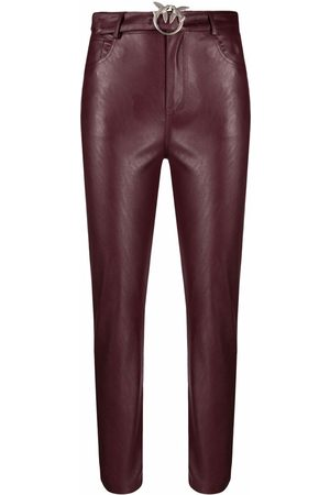 Pinko Pantaloni crop in finta pelle
