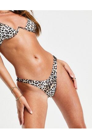 Free Society Mix and Match - Slip bikini sgambati con stampa animalier
