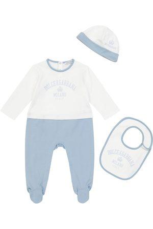 Dolce & Gabbana Kids Baby - Tutina, bavaglino e berretto in cotone