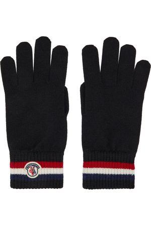 Moncler Black Wool Stripe Gloves