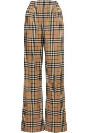 Burberry Pantaloni Louane In Cotone Stretch Check