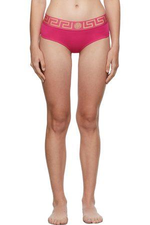 Versace Underwear Pink Greca Border Thong